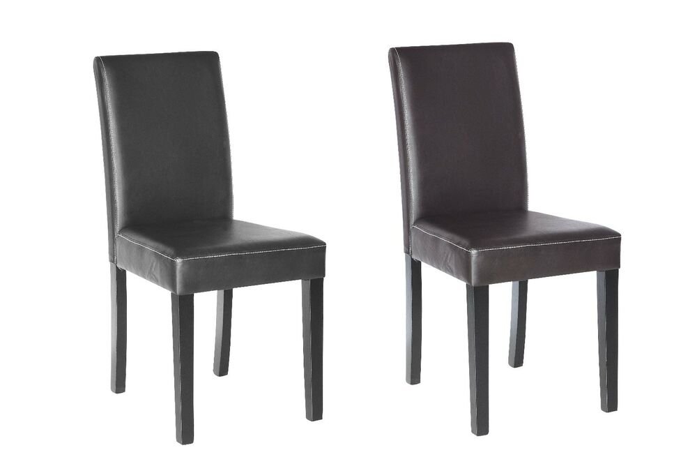Set of 2 Elegant Design Leather Modern Dining Chairs Room
