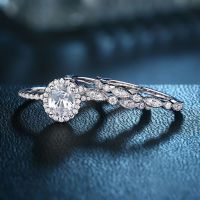 1.8 Oval White CZ 925 Sterling Silver Wedding Ring Set ...