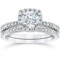 5/8Ct Cushion Halo Real Diamond Engagement Wedding Ring