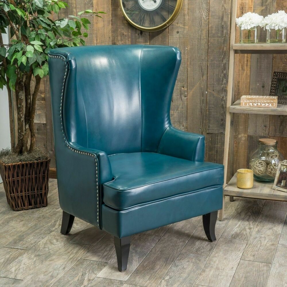 Teal Wingback Chair Jameson Tall Wingback Teal Blue Leather Club Chair Ebay