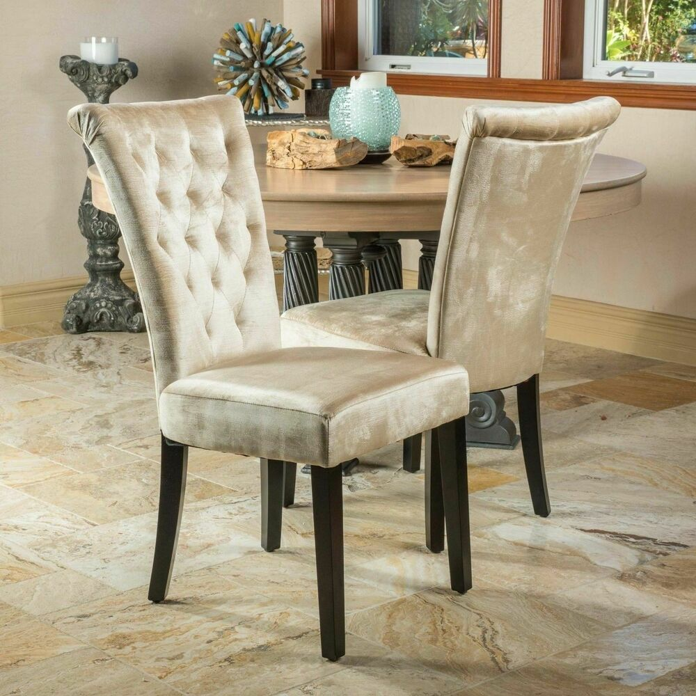 traditional wingback chair dining leather chairs uk (set of 2) room champagne velvet w/ tufted accents 637162143285   ebay