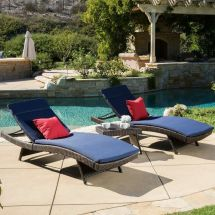 Outdoor 3-piece Brown Wicker Adjustable Chaise Lounge Set