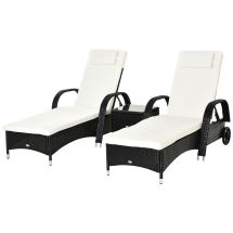 Outsunny 3pc Rattan Sun Lounger Table Patio Recliner Day