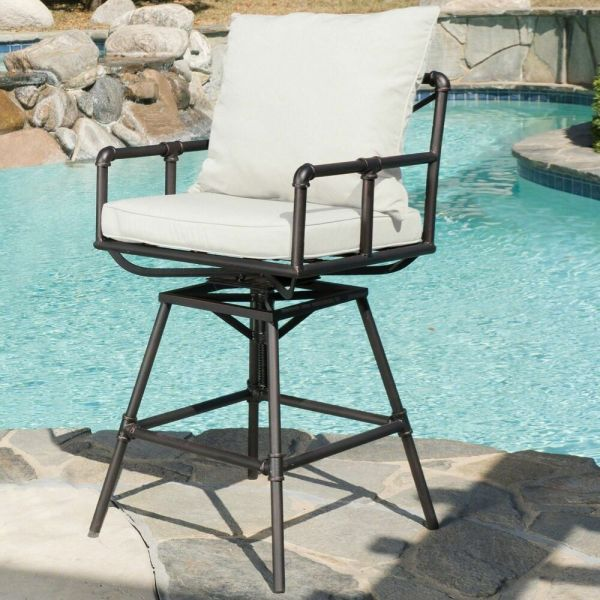 Outdoor Adjustable Black Copper Pipe Barstool With White