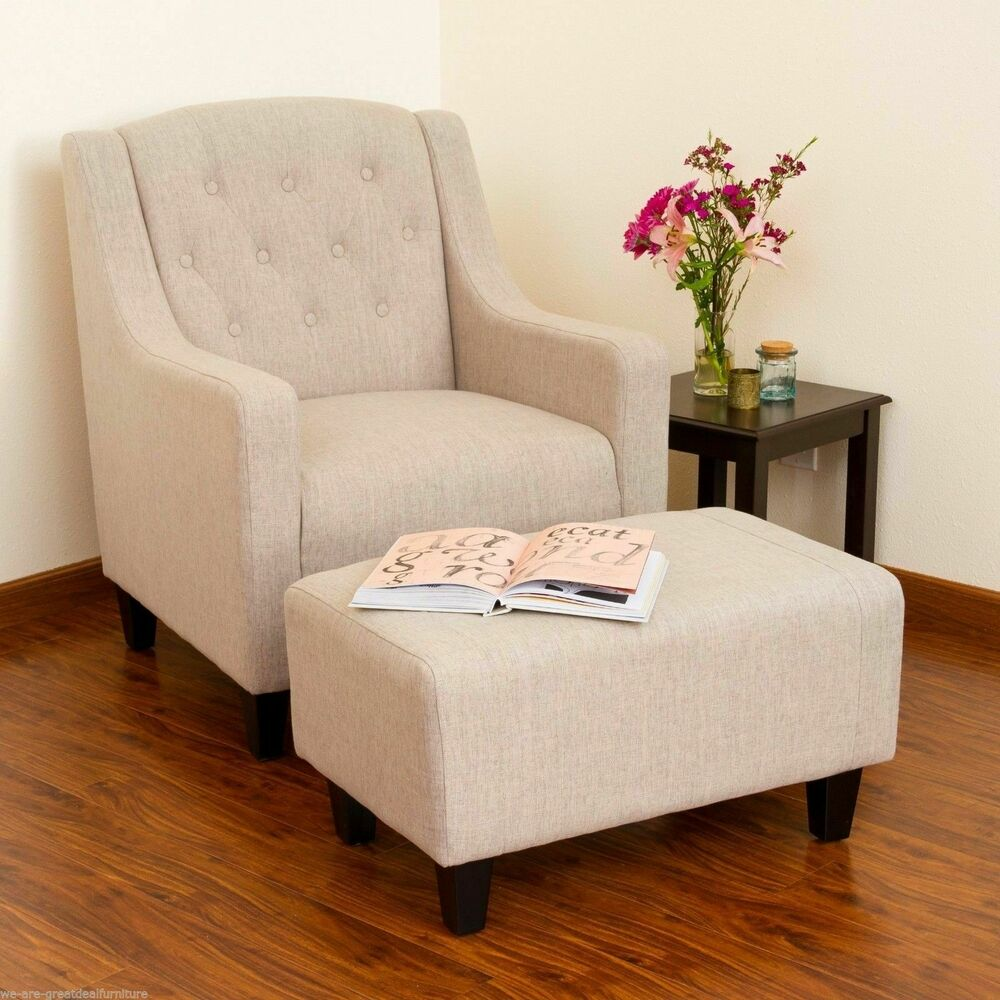 Living Room Furniture Light Beige Tufted Fabric Chair and Footstool Ottoman  eBay