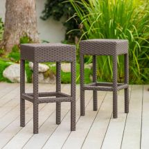 Set Of 2 Outdoor Patio Furniture Brown Wicker Backless Bar