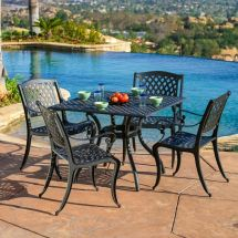 Luxury Outdoor Patio Furniture 5pcs Cast Aluminum Black