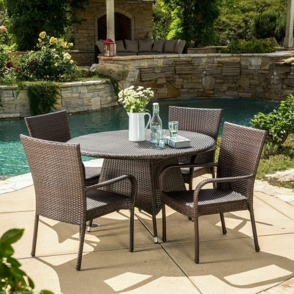 patio furniture sets Outdoor Patio 5pc Multibrown All-Weather Wicker Dining Set