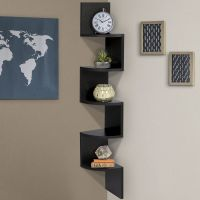 Large Corner Wood Zig Zag Wall Shelf Black Finish Home ...