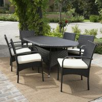 Outdoor Patio Furniture 7pc Multibrown Wicker Oval Dining ...
