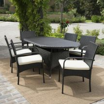 Outdoor Patio Furniture 7pc Multibrown Wicker Oval Dining