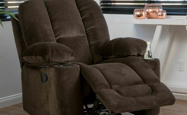 Traditional Brown Fabric Glider Recliner Club Chair Ebay