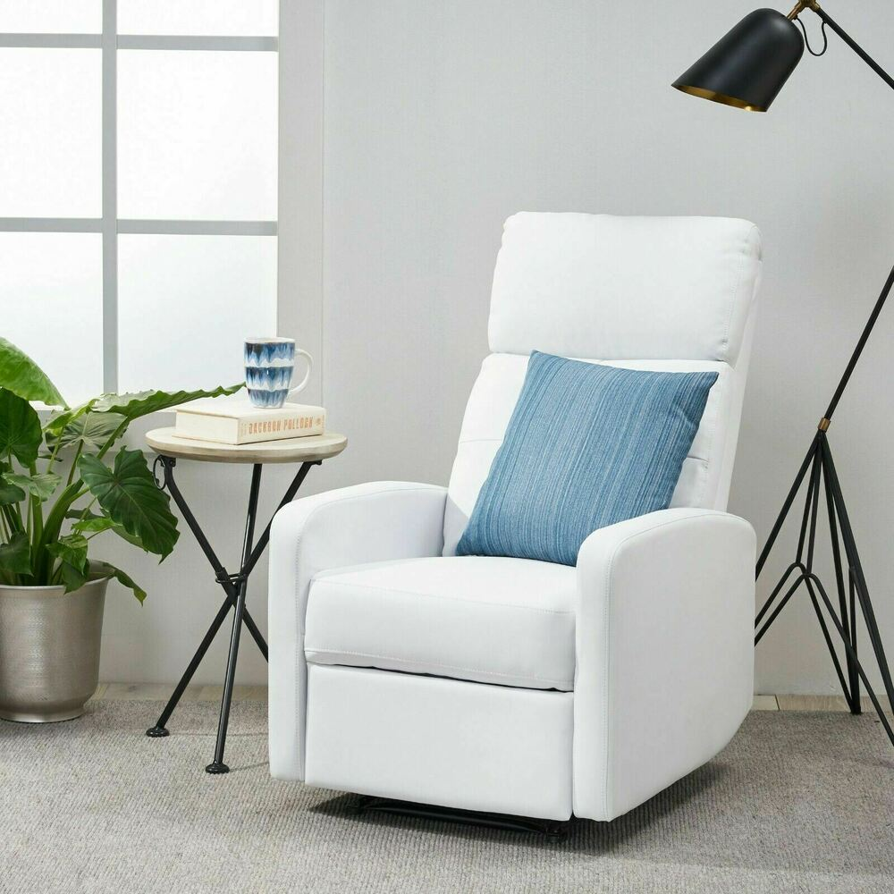 Contemporary White Leather Recliner Club Chair  eBay