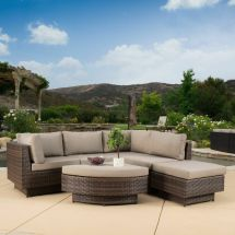 Outdoor Patio Furniture 6-piece Multi-brown Pe Wicker Sofa