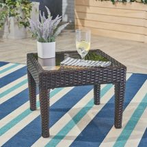 Contemporary Outdoor Brown Wicker Side Table