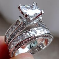 Princess White Cz 925 Sterling Silver Wedding Band ...