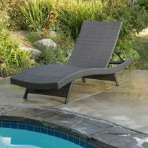 Outdoor Patio Grey Wicker Folding Chaise Lounge Chair