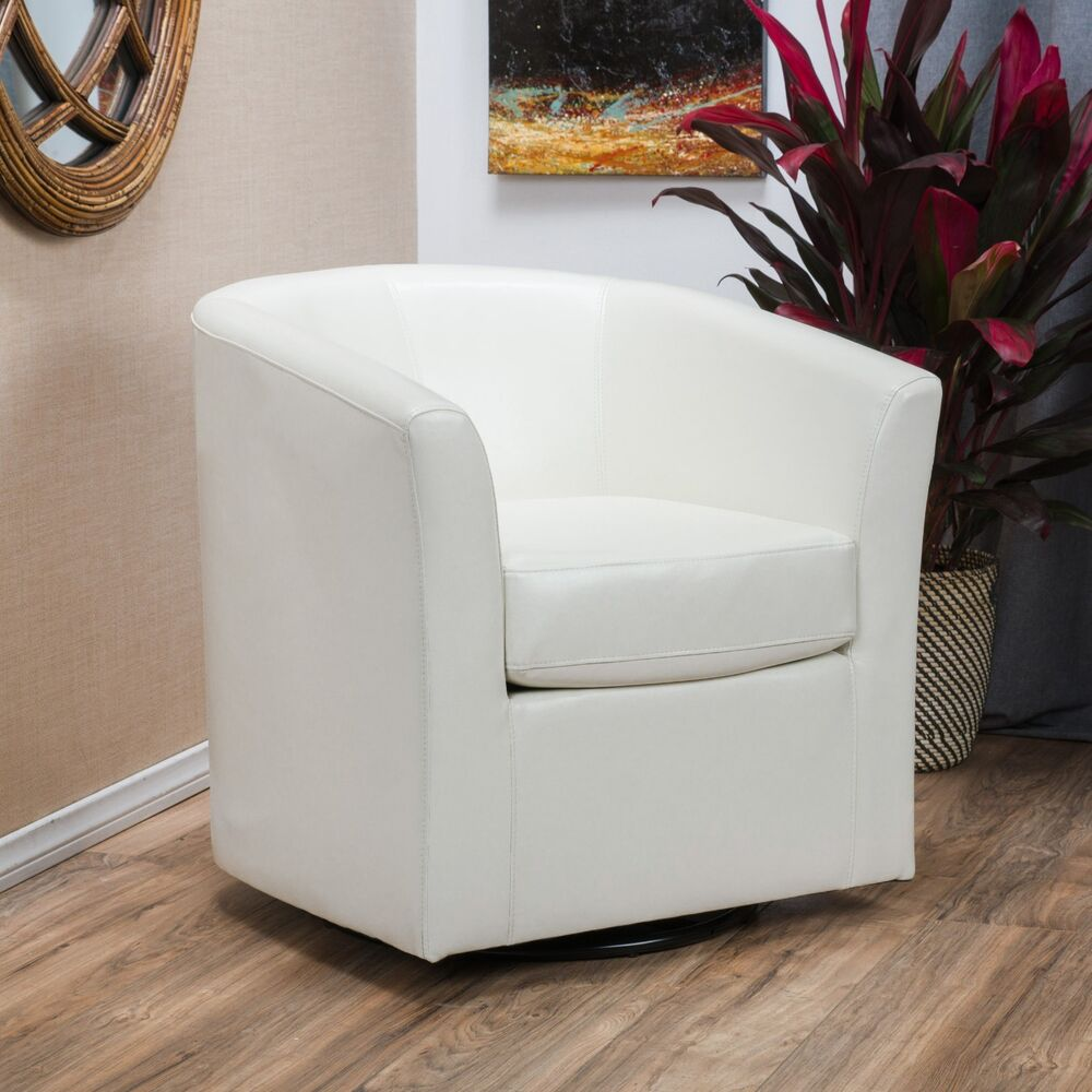 Contemporary OffWhite Leather Swivel Club Chair  eBay