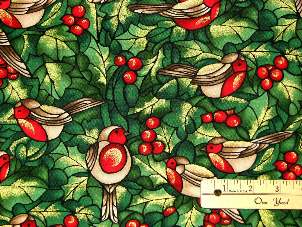 Stained Glass Robins Amp Holly Christmas Fabric By The 12