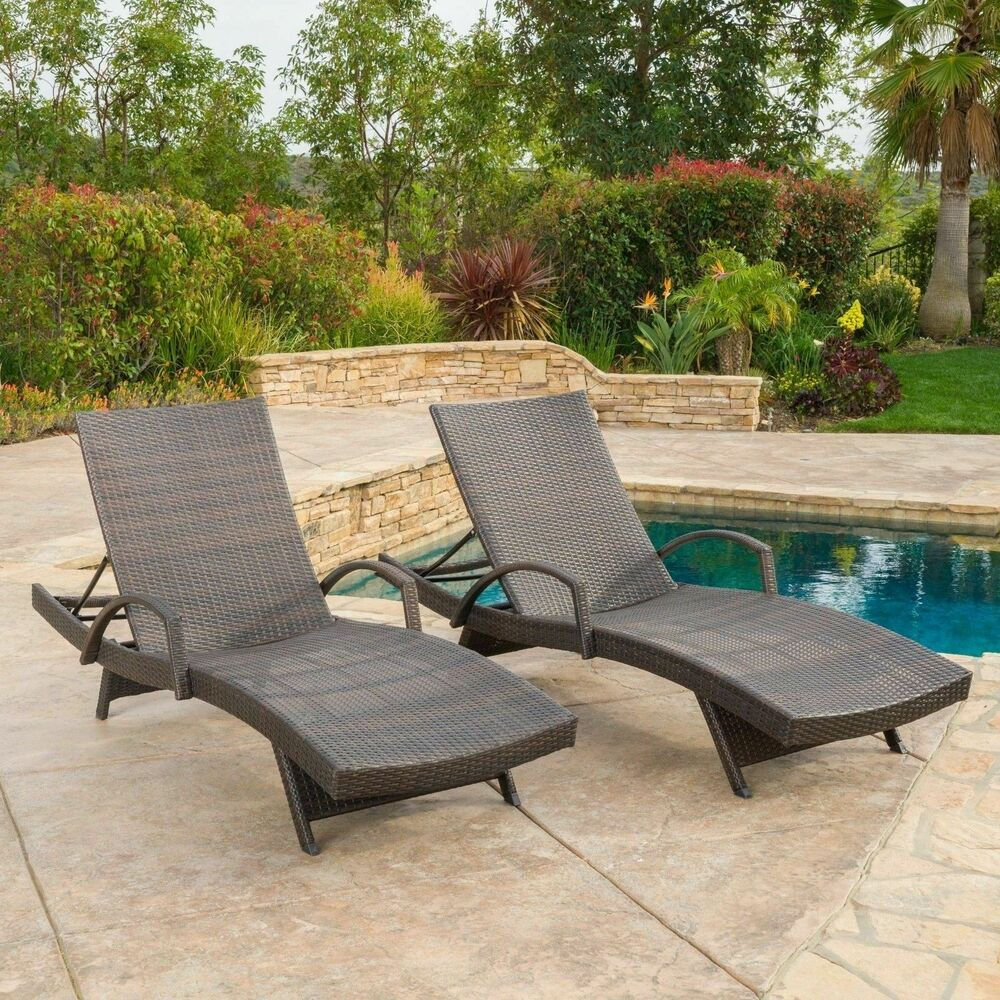 wicker patio chair set of 2 rattan rocking cushion (set 2) outdoor brown armed chaise lounge | ebay