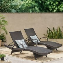 Set Of 2 Outdoor Brown Wicker Armed Chaise Lounge Chair