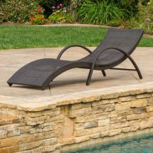 Outdoor Brown Wicker Folding Armed Chaise Lounge