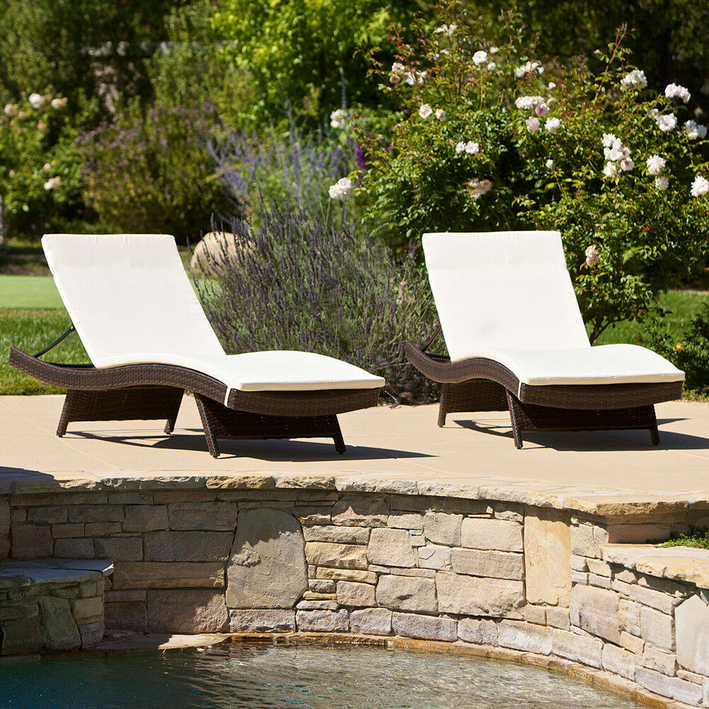all weather wicker outdoor chairs small ball chair (set of 2) patio pool adjustable chaise lounge w/ cushions | ebay