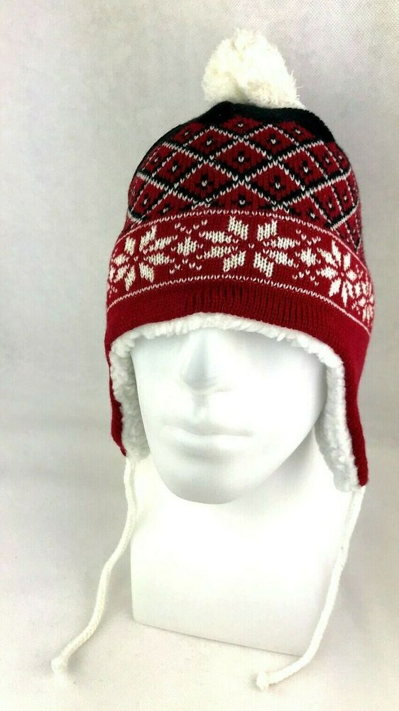 c433bfad Red Snowflake Design Beanie Stocking Cap Hat With Ear