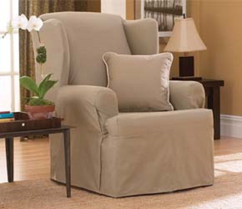 NEW Cotton Duck Linen T CUSHION WING CHAIR SLIPCOVER  eBay