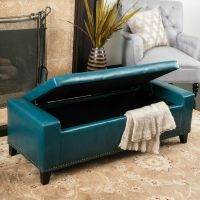 Contemporary Studded Teal Leather Storage Ottoman Bench | eBay