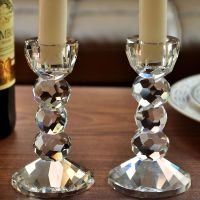 Pair 2 Crystal Cut Pillar Candle Holders Wedding ...