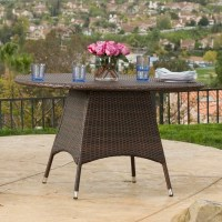 Outdoor Brown Wicker Round Dining Table | eBay