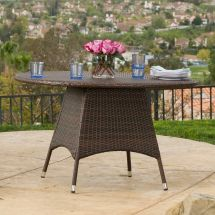 Outdoor Brown Wicker Dining Table