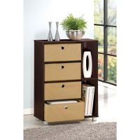 Furinno Multipurpose Storage Cabinet w/4 Bin-Type Drawers ...