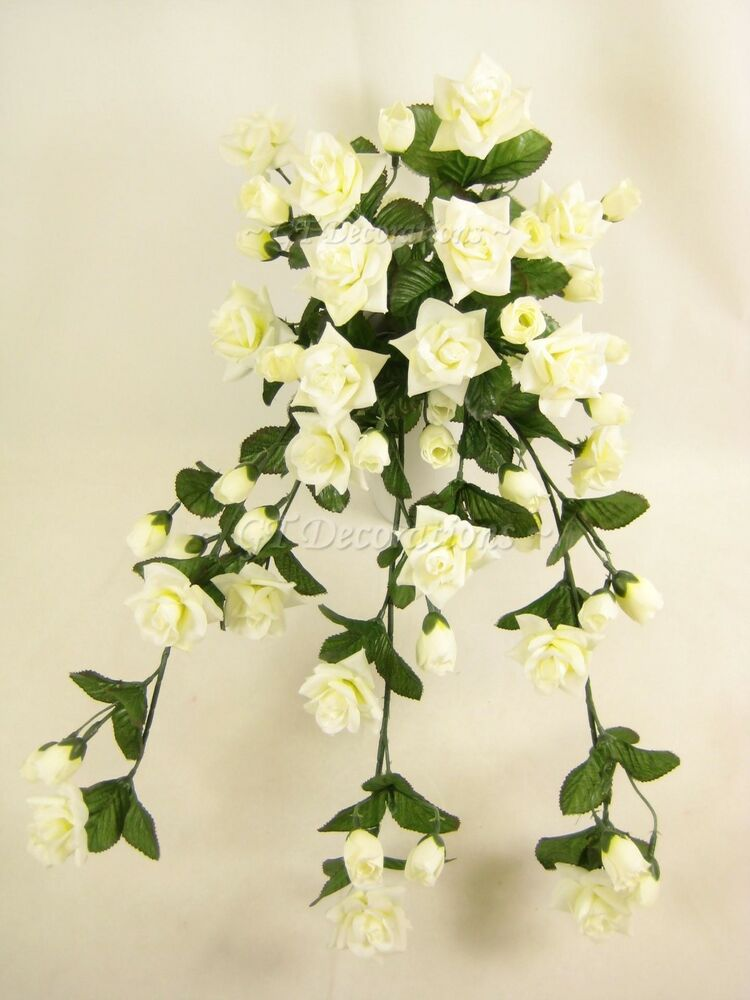 Wired Artificial Flowers Cream Rose Trailing Plant For