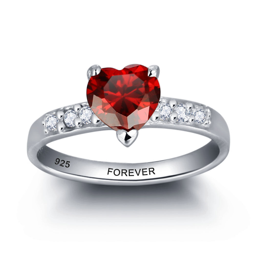 Engraving Name Ring With Ruby July Birthstone 925 Solid