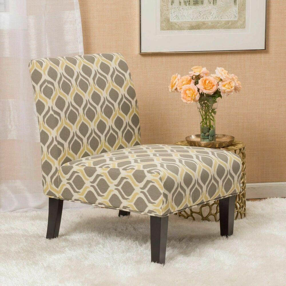 Yellow and Grey Fabric Slipper Chair Set of 2  eBay