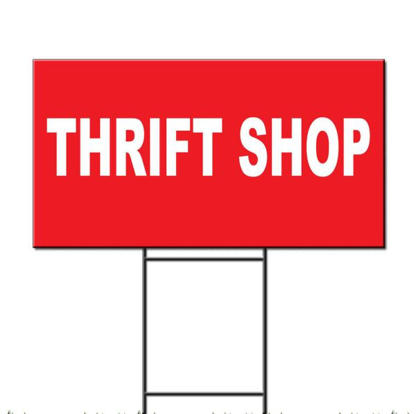 Thrift Red Background Corrugated Plastic Yard Sign Free Stakes