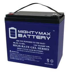 details about mighty max 12v 55ah gel battery for power boat pontoon electric trolling motor [ 1000 x 1000 Pixel ]