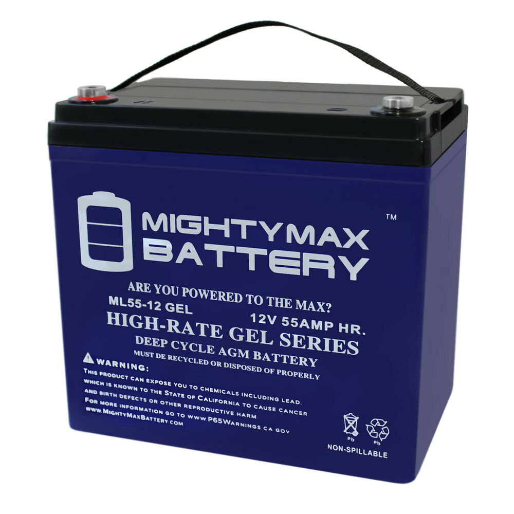 medium resolution of details about mighty max 12v 55ah gel battery for power boat pontoon electric trolling motor