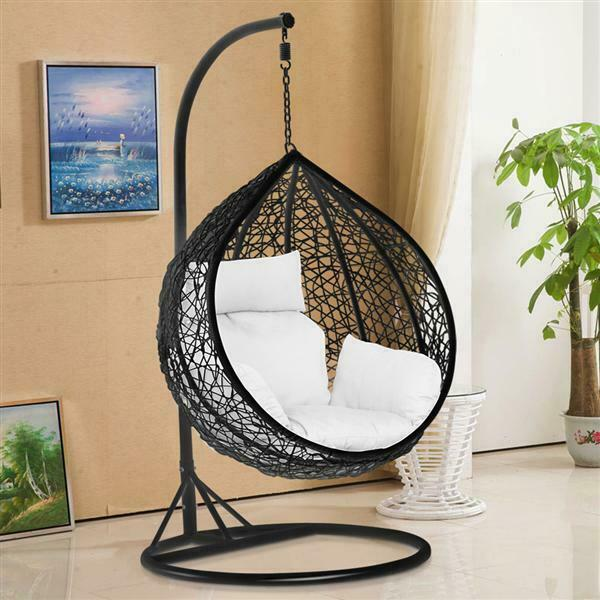 folding egg chair accent with wooden arms rattan swing patio garden weave hanging w/cushion& cover in or outdoor | ebay