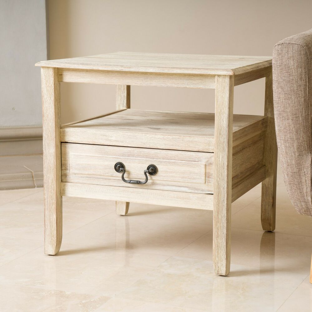 Elegant OffWhite Wood Finish Accent End Table w Short