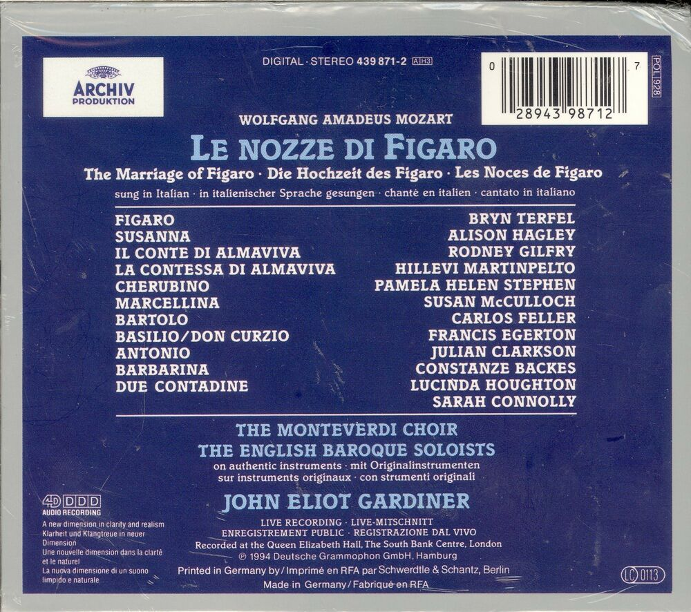 medium resolution of mozart le nozze di figaro cd box set new john eliot gardiner bryn terfel ebay