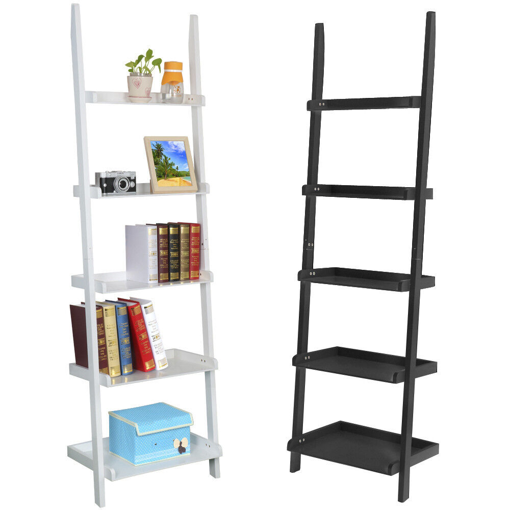 5 Tier Leaning Ladder Shelf Bookcase Bookshelf Wooden