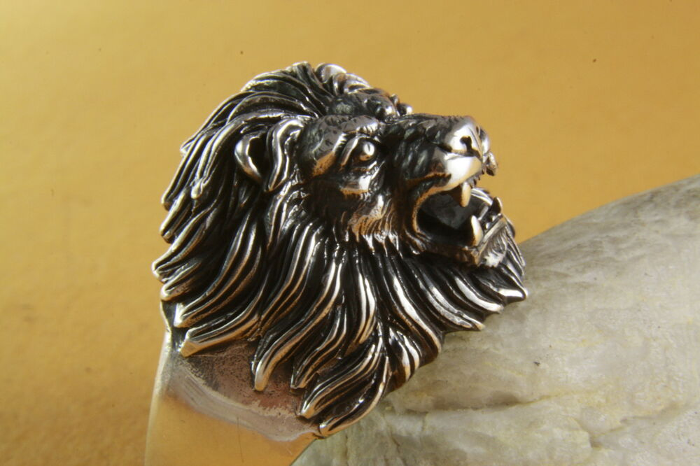 LIONS RING LIONHEAD LION SILVER RING 925 GENUINE SILVER 186  eBay