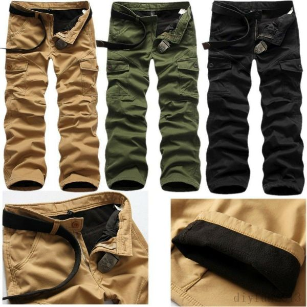 Mens Winter Cotton Fleece Lined Cargo Combat Work Long
