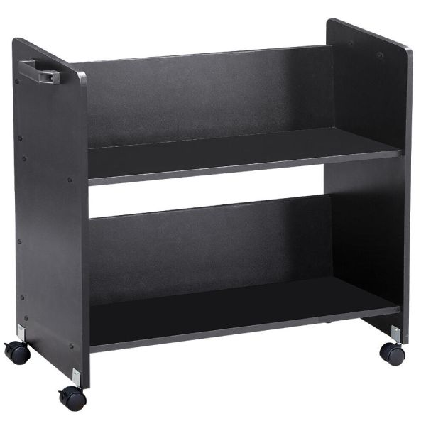 Movable Library Home Book Cart Wheeled Bookcase Rolling