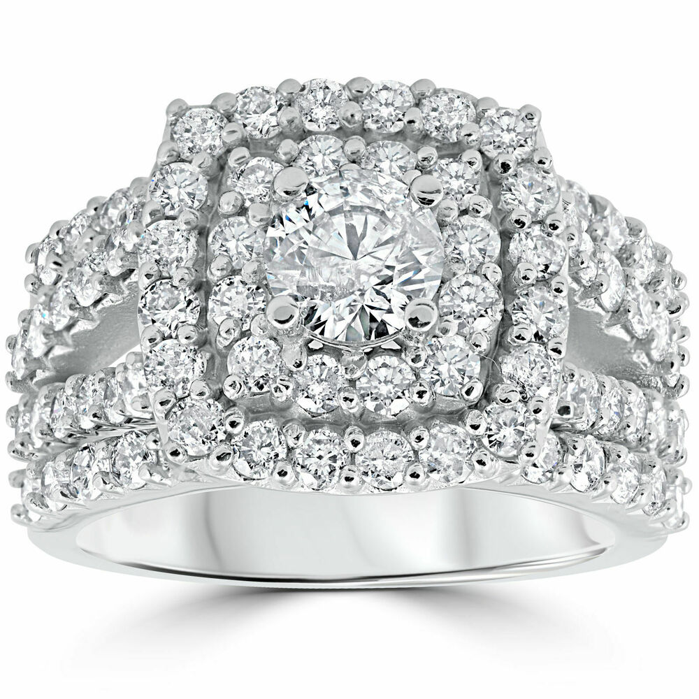 3 ct Diamond Engagement Wedding Double Cushion Halo Trio