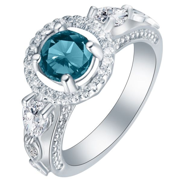 Women Blue Sapphire White Gold Filled Wedding Ring Jewelry