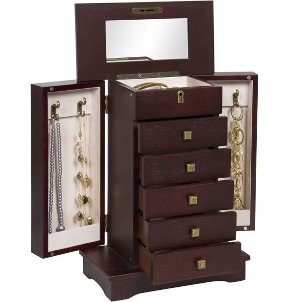 Bcp Handcrafted Wooden Jewelry Box Organizer Wood Armoire